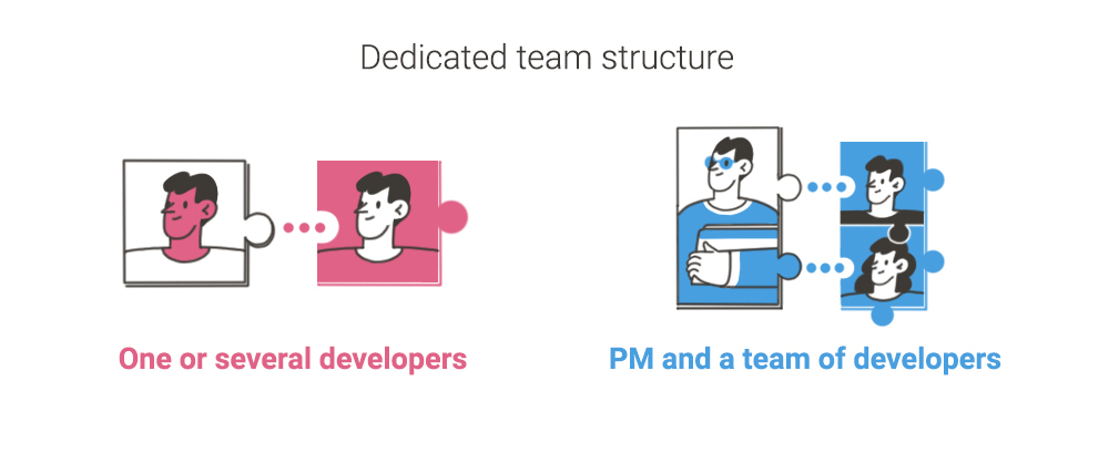 dedicated team structure: project manager and development team